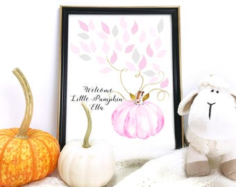 Baby Shower Guest Book Alternative - Pink and Gold Guest Book -Pumpkin Guestbook- Welcome Little Pumpkin - Printable, Custom, Digital File