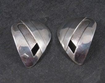 Large Vintage Sterling Modernist Earrings Sandy Baker