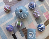 Boho Clay Beads Exotic Ceramic Beads Ethnic Bohemian Carved Beads White Etched Guru Bead Pendants Exotic Unique Summer Colorful Tribal Beads