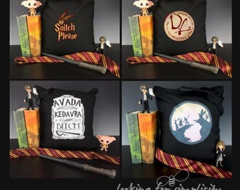 Harry Potter Inspired Light Weight Tote Bags - Dumbledore's Army, Snitch Please, Tale of the Three Brothers (Peverell) or Avada Kedavra
