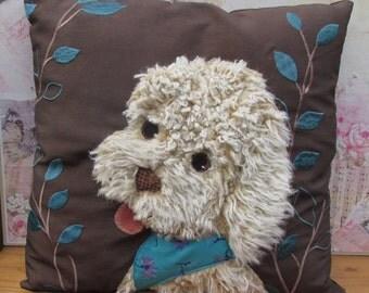 Beautiful handmade Patchwork Applique Labradoodle Puppy Dog cushion