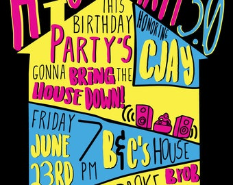 House Party Ultimate 90s Party House Party Invitation Digital File- You print at home or online (DIGITAL COPY)