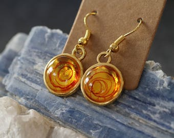 Golden earrings, hand-painted alcohol ink unique