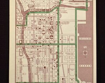Chicago Map Chicago Street Map Illinois Wall Art Original