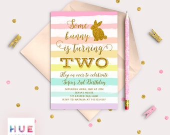 bunny birthday invitation, rainbow easter birthday party invitation, some bunny is turning 2 gold glitter rabbit 2nd birthday invitation