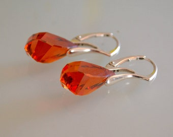 Red Magma Swarovski Helix Crystal Earrings Red Earrings Magma Red Swarovski Drop Earrings Brown Swarovski Earrings Helix Earrings Orange