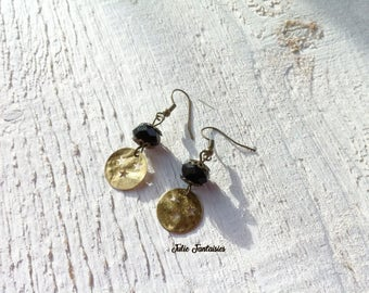 Earrings Chic black and gold * beads and Charms
