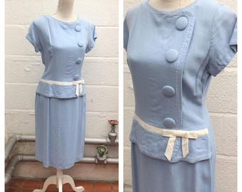 "1950's ""Carnegie"" London - Baby Blue Linen Drop Waist Peplum Dress - Mad Men - Size M/L"