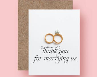 Wedding Officiant Thank You Card, Thank you for marrying us, Thank You Pastor- Gift for Officiant - Reverend, Priest, Deacon, Rabbi Card