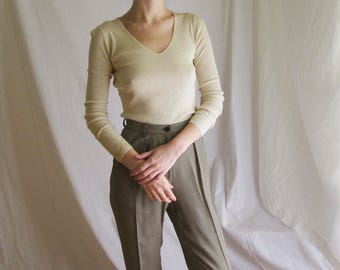 90s Wool Silk Ribbed Knit Top XS S