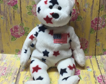 """TY Beaine Baby """"Glory"""" Bear 7/4/97 with Tags Collector U.S.A. Red White Blue Independance Day Stars and Stripes"""