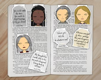 Throne of Glass Magnetic Bookmarks Set - Celaena, Rowan, Manon, and Nehemia Clips