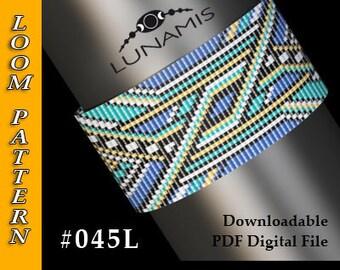 Loom bracelet pattern, loom pattern, square stitch pattern, pdf file, pdf pattern, cuff, #045L