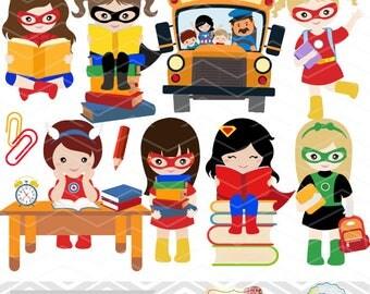 Instant Download Superhero Clip Art, School Day Clipart, Superhero Girl Clipart, Back to School Clip Art, School Girl Clip Art 0244