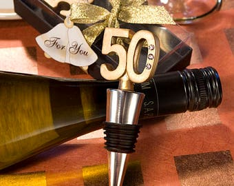 50th Anniversary Wine Bottle Stopper - Anniversary Birthday Party Favor 20-72 Qty  FC1916