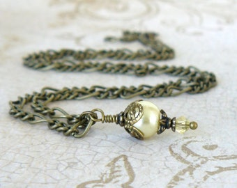Pale Yellow Pearl Pendant, Vintage Style Light Yellow Pearl and Crystal Necklace, Bridesmaid Jewelry, Wedding Jewelry, Bridal Party Set