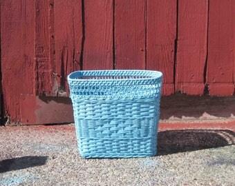 Vintage Wicker Waste Basket ,Satin Aqua Color, Cottage Chic,Bathroom Decor