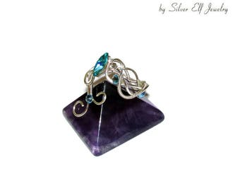 Waves ring, adjustable ring for Sea Elves, Elven ring for Sea lovers, wire ring, elegant ring with Swarovski, blue jewelry, waves jewelry