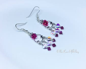 Petite Fuchsia Rose, Czech Crystal Heart also with Swarovski Fuchsia Crystal Bicones | Chandelier Earrings in bright silver plated pewter