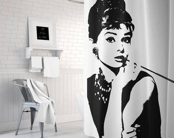 Audrey Hepburn Breakfast At Tiffanys Fabric Shower Curtain, Vintage Shower Curtain, Black and White, Girls Bathroom Decor, Gifts for Her