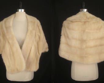 Blonde Ivory Cream MINK Fur Stole Cape Shawl Jacket Coat ~ Winter Wedding ~ Luxury Bridal ~ Tourmaline White ~ No monogram! ~ Smaller size