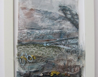 TEXTILE ART, Embroidery -  Textile art, free motion embroidery, embroidered art, landscape.