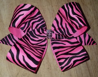 Medium Pink Zebra Hair Bows