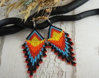 Black earrings Statement earrings Boho earrings 4th July Bohemian earrings Art earrings Red blue American jewelry Modern earrings native