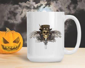 Steampunk Skull Mug, Skeleton with Wings Steampunk Cup, Halloween Skeleton Decoration, Halloween Gothic Table Decor, Skeleton Bones Mug Cup