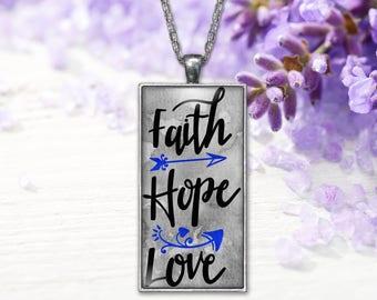 Faith Hope Love Jewelry Pendant  Word Print Jewelry Necklace, Keepsake Gifts for Her, Graduation Birthday Anniversary Wedding Present
