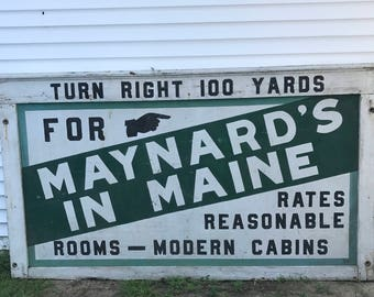 Maine Sign 8 Ft Billboard Mid Century Sign Vintage Motel Cabins Sign Maine New England Green Blck White Primitive Tourist Moosehead Lake