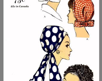 Vintage Vogue Millinery Hat Scarf Head cover Fabric material sewing  pattern #6410 Copy
