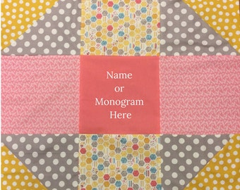Stroller Quilt - Car Seat Quilt - Baby Quilt - Baby Shower Gift - Personalized Quilt - Quilt with Name - Quilt with Monogram - Nine Square