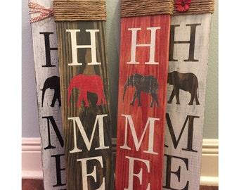 Alabama Home Signs - RTR Elephant - Roll Tide! - Welcome - Elephant sign - Home sign with Elephant- Wooden home sign - Roll Tide wooden sign