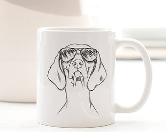 Sawyer the Vizsla - Gifts For Dog Owner, Dog Lover, Dog Mug, Dog Mug, Dog Wearing Glasses, Cool Dog Mug