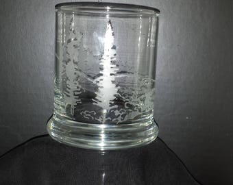 Mountain Scene Etched Candle Holder