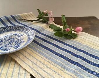 Vintage Swedish table runner Handwoven runner Striped linen table cloth Blue brown White runner
