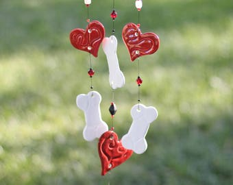 Personalized Puppy Love Ceramic Wind Chime with dog bones and hearts