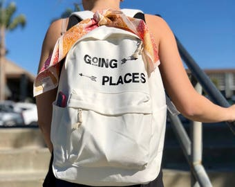 Going Places -White Canvas Backpack with Black Vinyl Lettering
