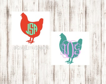 Chicken Monogram Decal - Monogrammed Chicken Decal - Monogrammed Chicken