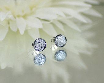 Fused Glass Stud Earrings - Dichroic Glass Earrings - Silver Crinkle Effect Dichroic Glass.  JBT254