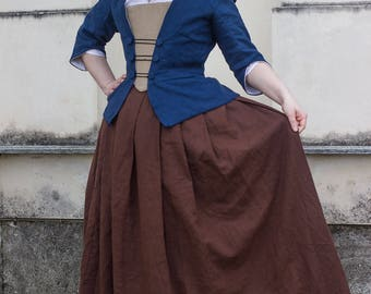 10% off! 18th century outfit in linen,choose size and colour - Colonial Historical costume rococo georgian reenactment living history