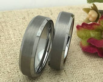 6mm His and Hers Wedding Rings, Personalized Custom Engraved Tungsten Rings, Wedding Rings, Promise Ring, Couples Ring