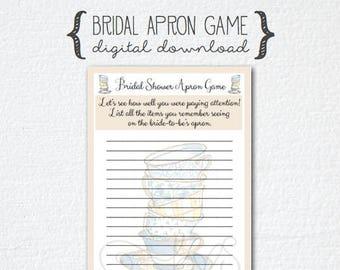 Tea Party Coffee Theme Bridal Shower Game - Apron Memory Game