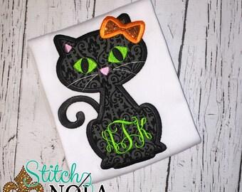 Black Cat Applique, Black Cat Halloween Shirt, Halloween Cat Shirt, Halloween Applique, Cat applique, Cat shirt, Cat with Bow
