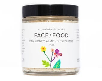 Raw Honey Almond Exfoliant/Scrub/Mask/Organic Coconut Oil, Smoothing and Firming Natural Facial Mask. Almond Meal Exfoliant, Healing.