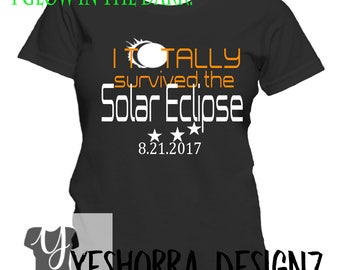 Solar Eclipse Shirt, Glow in The Dark Total Solar Eclipse, Solar Eclipse 2017, Astronomy Gift, Totality Shirt, I Survived Eclipse Shirt