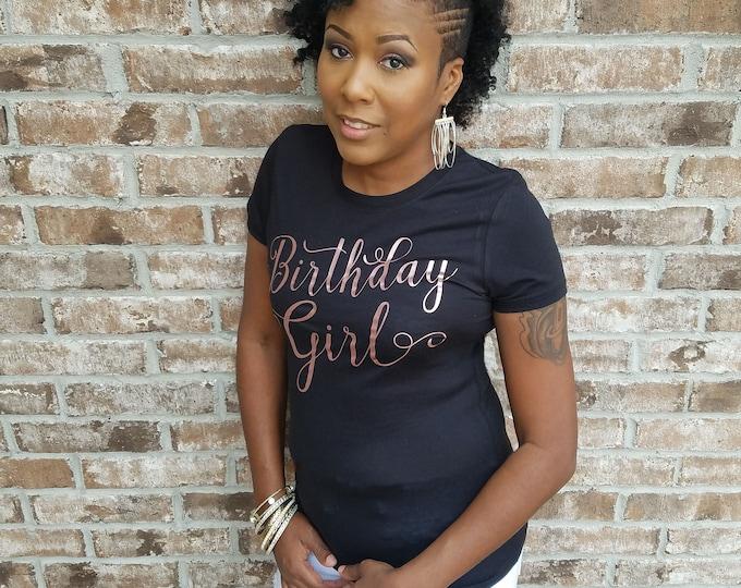 Rose Gold Birthday T-Shirt, Birthday Girl Shirt, Birthday Queen Shirt, Birthday Shirt, Birthday Shirt, Birthday Girl, Black and Gold Shirt
