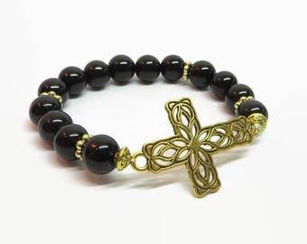 Black Sideways Cross Bracelet, Black and Gold Cross Bracelet, Filigree Cross Bracelet, Religious Bracelet, Christian Bracelet