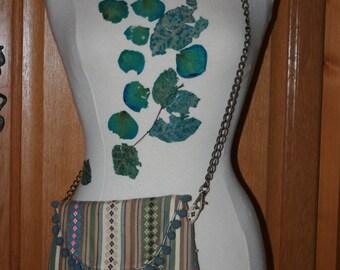 Green, grey, beige ethnic jacquard shoulder bag